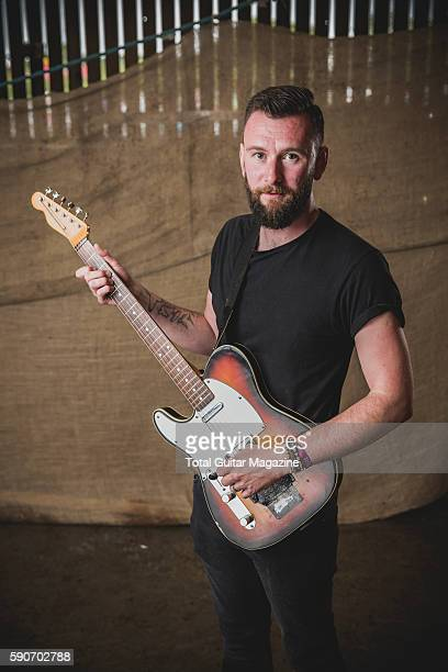 Portrait of English musician Tim Walters guitarist with math rock group PolyMath photographed backstage at ArcTanGent Festival in Somerset on August...