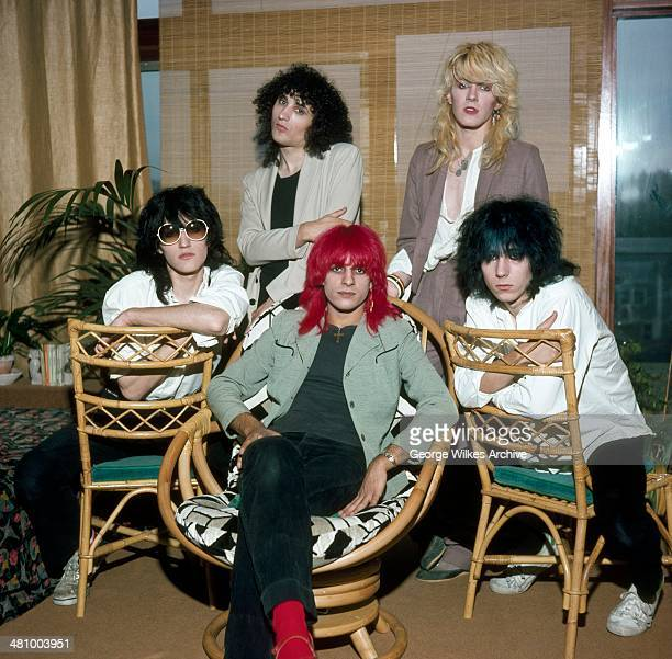 Portrait of English pop group Japan London England 1979 Pictured are sitting from left Steve Jansen Mick Karn and Richard Barbieri standing Rob Dean...