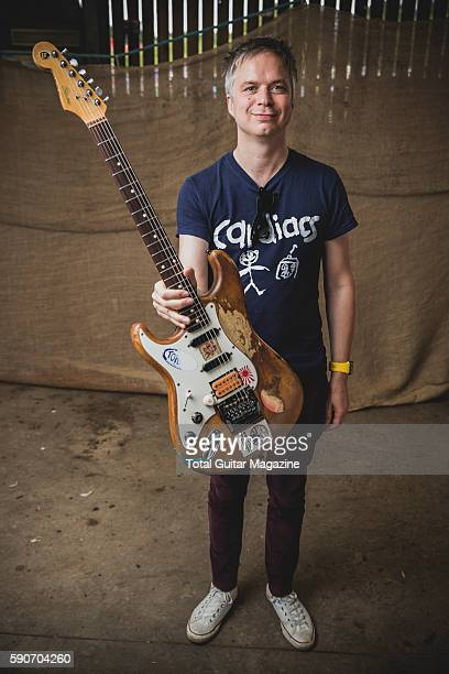 Portrait of English rock musician Mike Vennart photographed backstage at ArcTanGent Festival in Somerset on August 22 2015