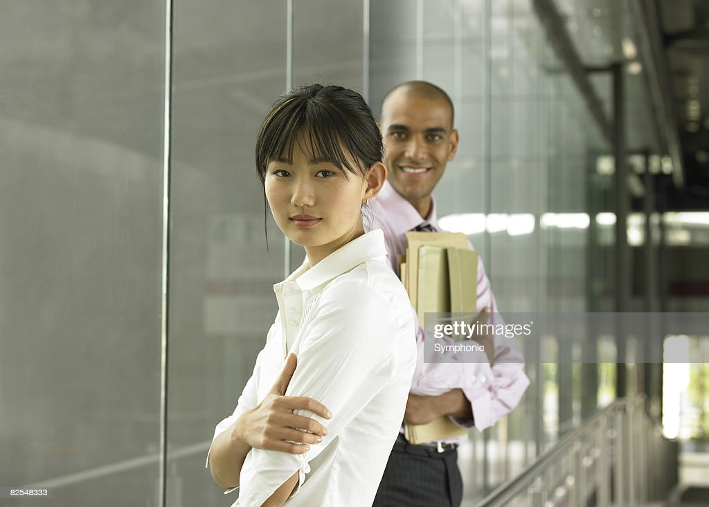 Portrait of ethnic co-workers at the office : Stock Photo