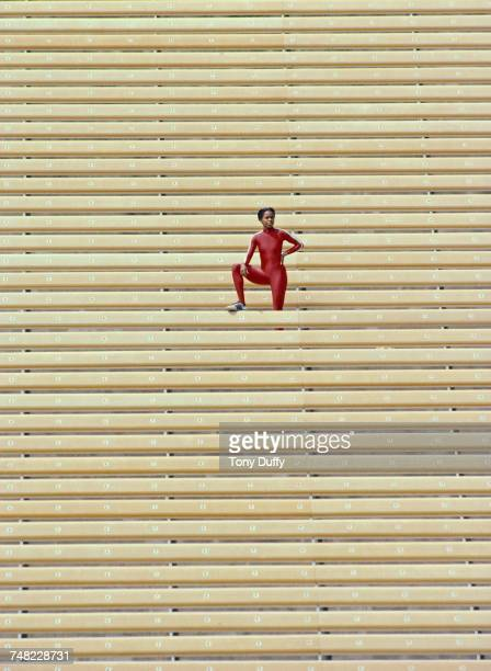 Portrait of Evelyn Ashford of the United States Olympic track and field athlete on 1 January 1981 at the Drake Stadium of the UCLA Los Angeles...