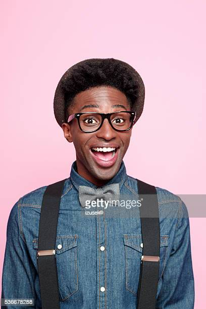 Portrait of excited afro american young man