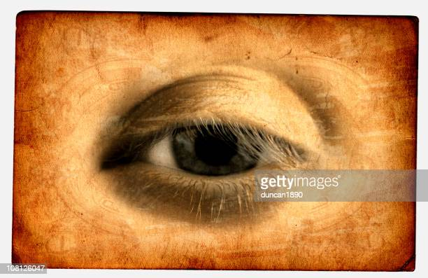 Portrait of Eye Printed on Textured Card