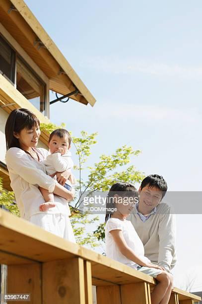Portrait of family on balcony