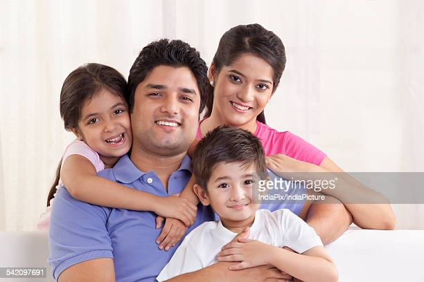 Portrait of family smiling together