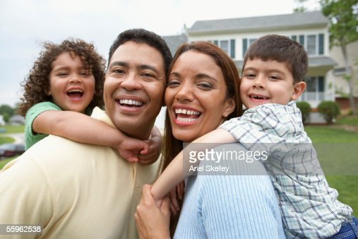 Portrait of family smiling together : Stock Photo