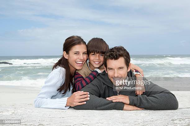 Portrait of Family With One Child On Beach