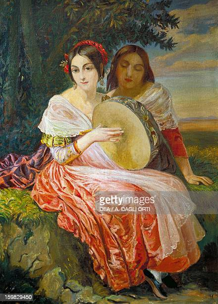 Portrait of Fanny Elssler with her sister Theresa Austrian dancers Oil painting 19th century