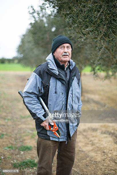 Portrait of farmer in olive orchard