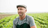 Portrait of farmer standing in front of a field