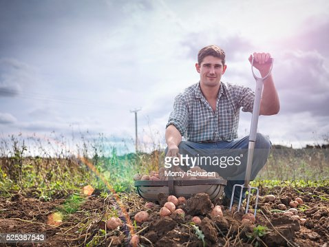 Portrait of farmer with basket of organic potatoes