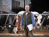 Portrait of farmer with clipboard standing in front of Friesen cows on dairy farm