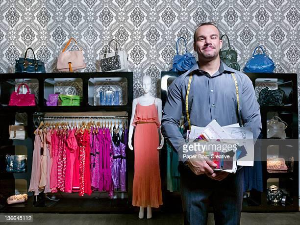 portrait of fashion designer for high street shop
