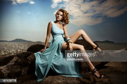 Portrait Of Fashion Woman In Blue Dress Outdoor : Stock Photo