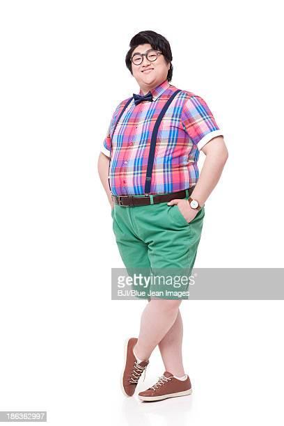 Portrait of fashionable fat man