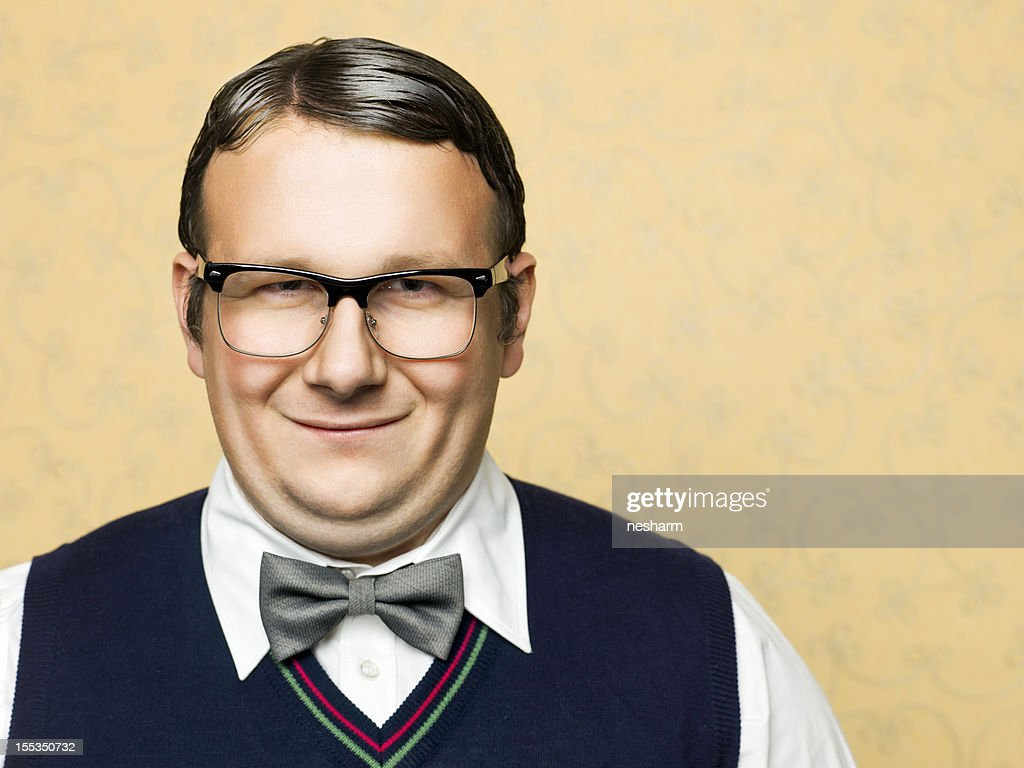 Portrait of fat male nerd