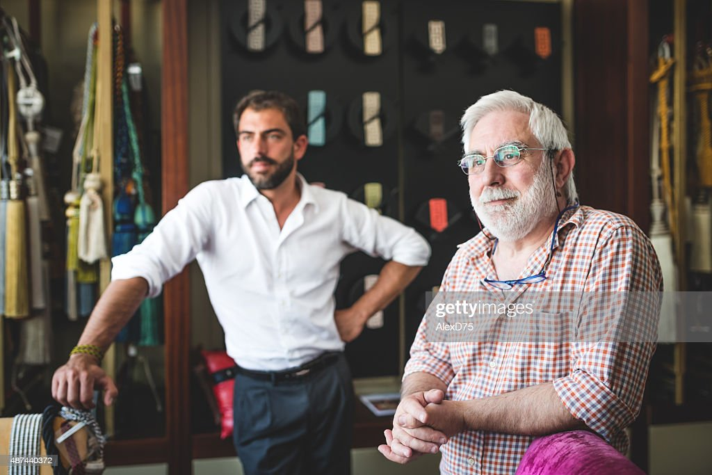 Portrait of Father and Son Entrepreneur : Stock Photo