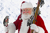 Portrait of Father Christmas With Skis