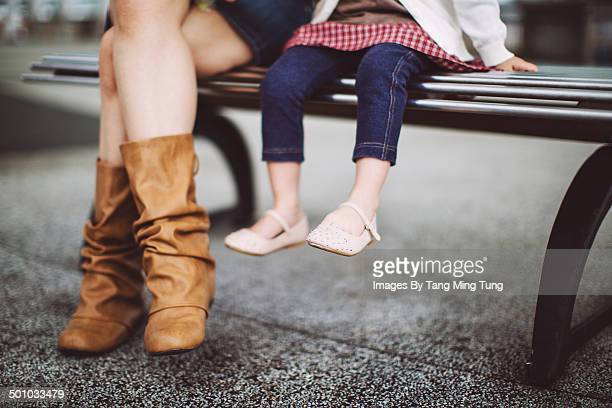 Portrait of feet of mom & little girl