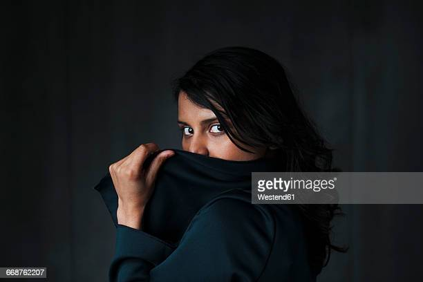 Portrait of female indian, obscured face