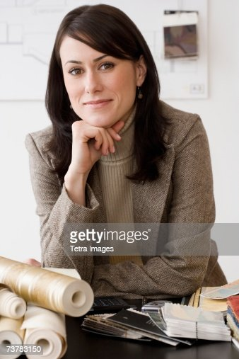 Portrait Of Female Interior Designer At Shop Stock Photo