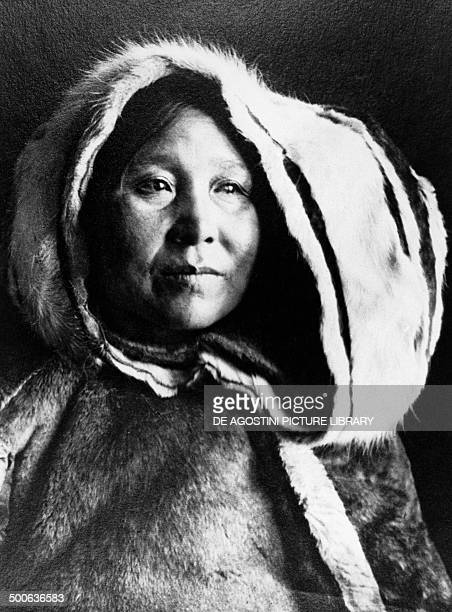 Portrait of female Inuit in traditional dress Canada 20th century Yellowknife Prince Of Wales Northern Heritage Centre