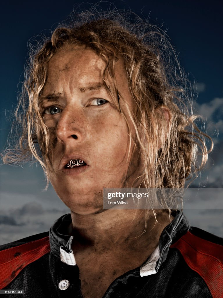 Portrait of female rugby player : Stock Photo