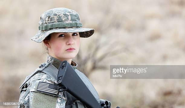 Portrait of female soldier