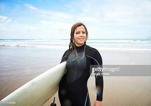 Portrait of female surfer at beach.