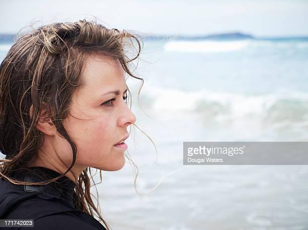 Portrait of female surfer.