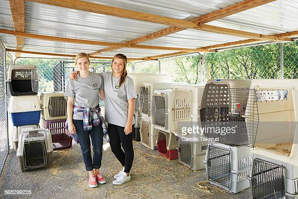 Portrait of female volunteers at an animal shelter