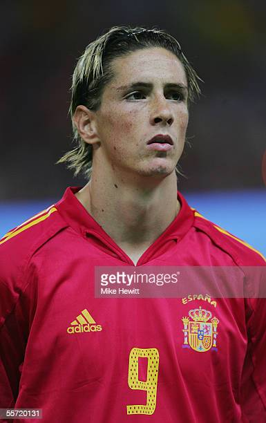 A portrait of Fernando Torres of Spain prior to the FIFA World Cup Group 7 qualifying match between Spain and Serbia Montenegro at the Vicente...