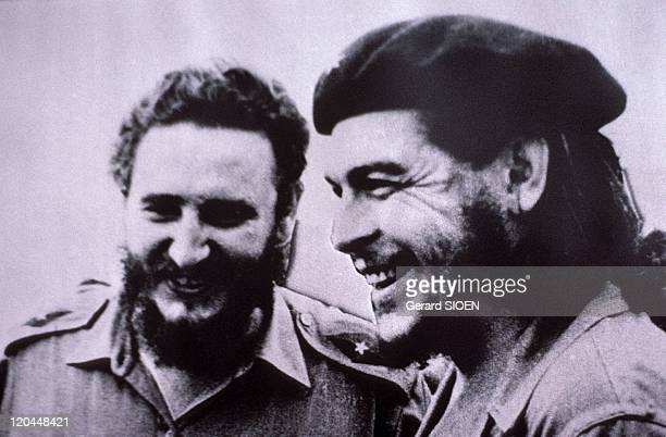 Portrait of Fidel Castro and Ernesto Che Guevara in Havana Cuba Museum of Revolution photo of Fidel Castro and Che Guevara taken in 1958 after the...
