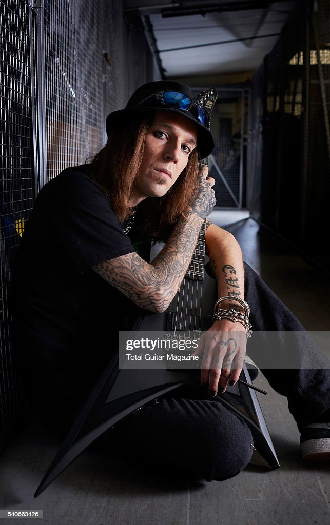 Portrait of Finnish musician Alexi Laiho guitarist and vocalist with heavy metal group Children of Bodom photographed at The Grove Music Studios in...