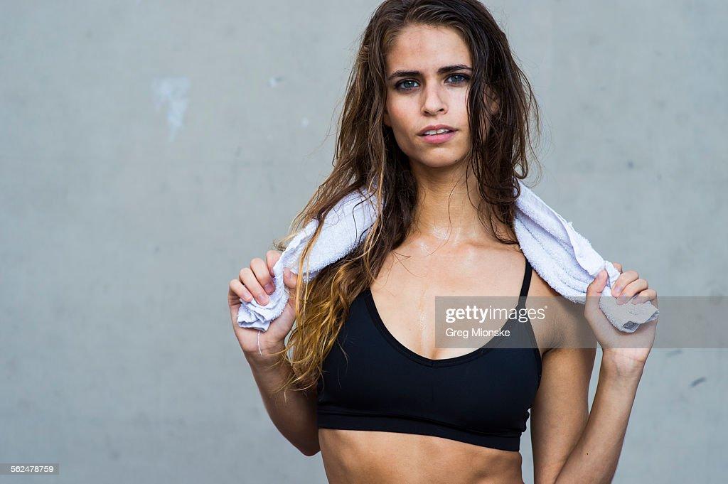 Portrait of fitness model in Brooklyn, New York.