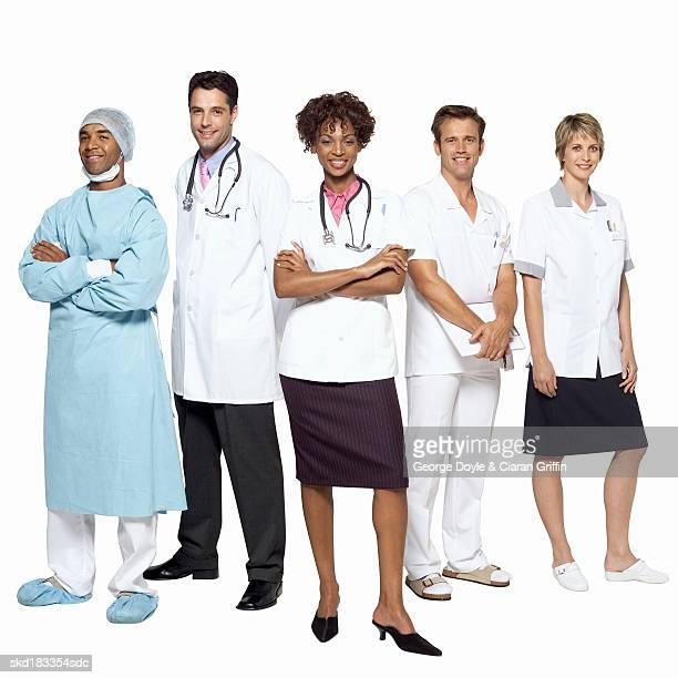 Portrait of five medical professionals