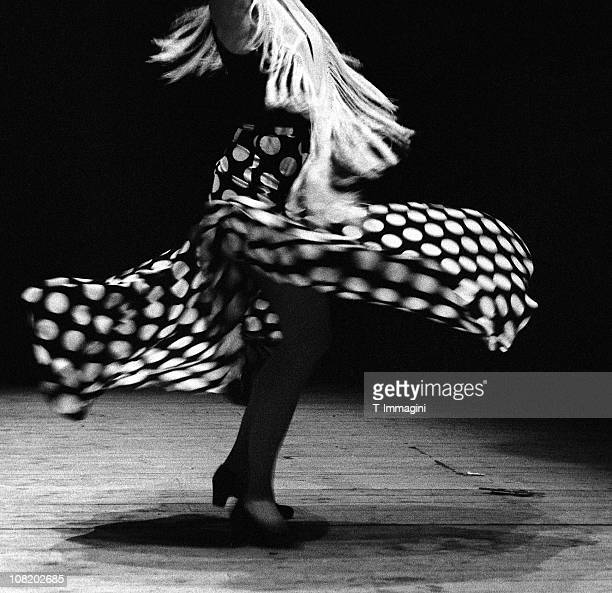 Portrait of Flamenco Dancer Spinning, Black and White