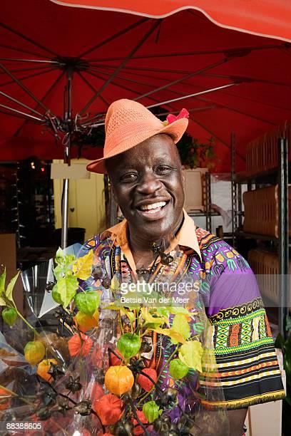 portrait of flower salesman.