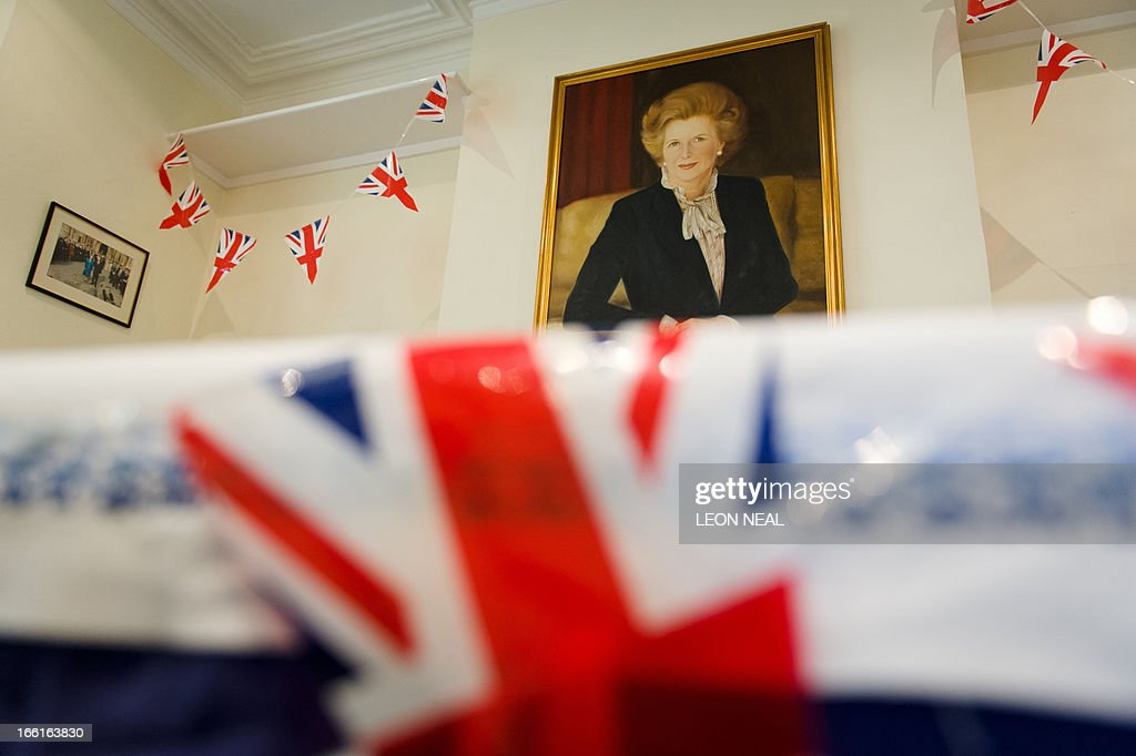 A portrait of former British Prime Minister Margaret Thatcher is pictured in the 'Margaret Thatcher Room' at the Conservative party headquarters in Finchley in north London, on April 9, 2013. Thatcher was elected MP for Finchley in 1959 and her funeral will take place on April 17, current premier David Cameron's Downing Street office said Tuesday. AFP PHOTO/Leon Neal