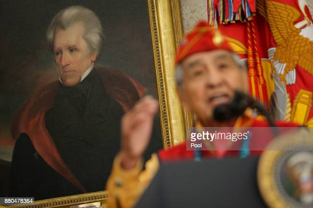 A portrait of former President Andrew Jackson as Navajo code talker Peter MacDonald speaks during an event hosted by President Donald Trump honoring...