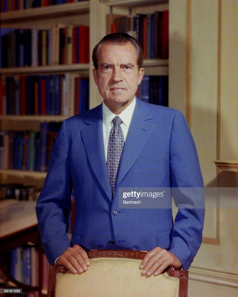 Portrait of former United States President <a gi-track='captionPersonalityLinkClicked' href=/galleries/search?phrase=Richard+Nixon&family=editorial&specificpeople=92456 ng-click='$event.stopPropagation()'>Richard Nixon</a> (1913 - 1994) taken in the White House, Washington, D
