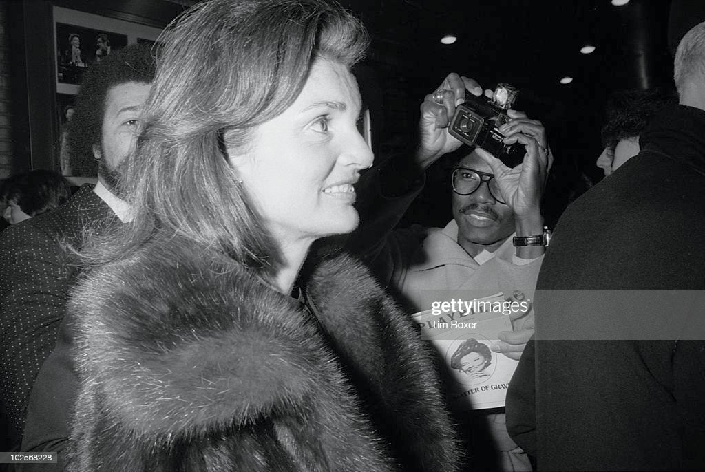 Portrait of former US First Lady Jacqueline Onassis (1929 - 1994) as she leaves the Broadhurst Theater after a performance of 'A Matter of Gravity' (starring Katharine Hepburn) New York, New York, April 8, 1976.