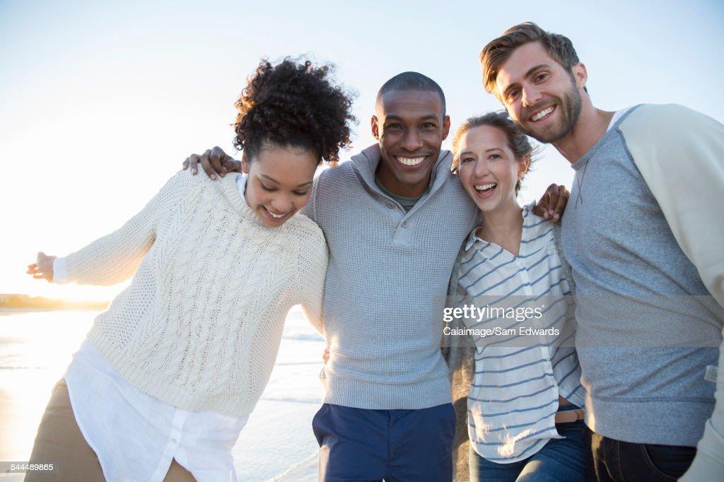 Portrait of four friends having fun