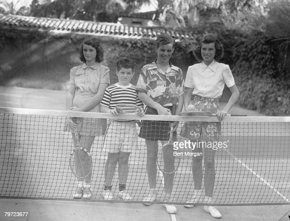 Portrait of four of the Kennedy children as they pose on a tennis court Palm Beach Florida January 7 1941 Pictured are from left the future Eunice...