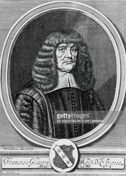 Portrait of Francis Glisson British physicist anatomist and physician engraving