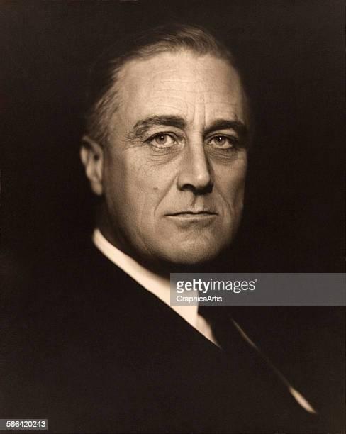 Portrait of Franklin D Roosevelt by Vincenzo Laviosa toned silver print 1932