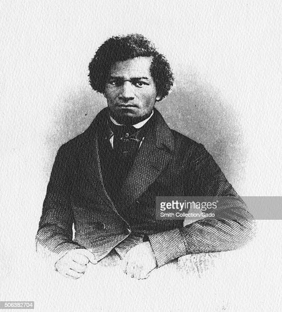 Portrait of Frederick Douglass from frontispiece and title page of his book 'My Bondage and My Freedom ' published in 1856 1856 From the New York...