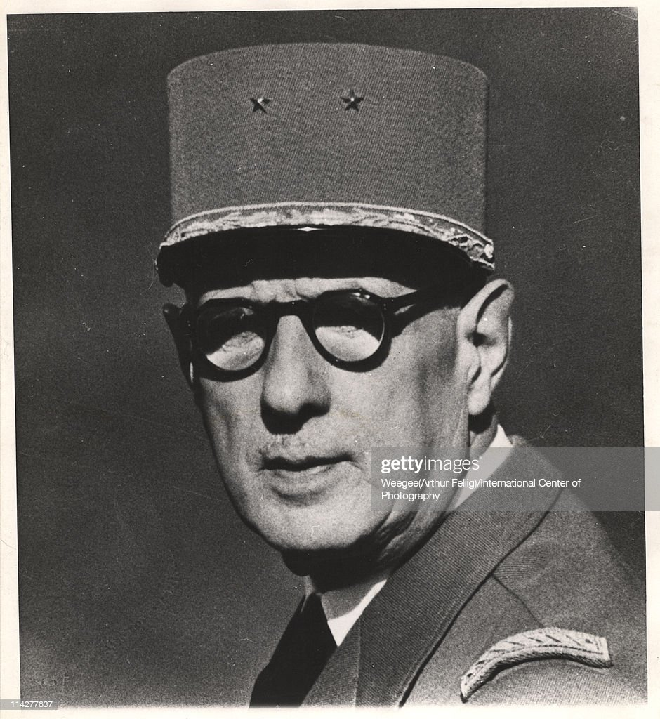 Portrait of Free French military commander (and later President) <a gi-track='captionPersonalityLinkClicked' href=/galleries/search?phrase=Charles+De+Gaulle&family=editorial&specificpeople=93215 ng-click='$event.stopPropagation()'>Charles De Gaulle</a> (1890 - 1970), mid twentieth century. (Photo by Weegee (Arthur Fellig)/International Center of Photography/Getty Images)