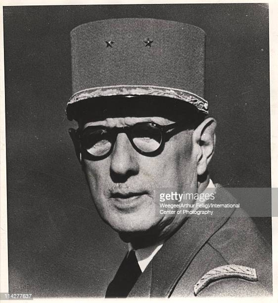 Portrait of Free French military commander Charles De Gaulle mid twentieth century Photo by Weegee /International Center of Photography/Getty Images