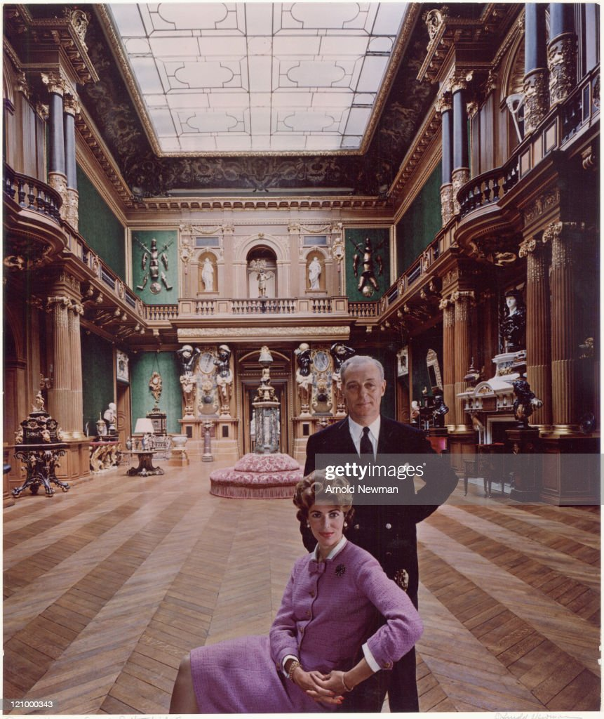 Portrait of French banker Baron Guy de Rothschild (1909 - 2007) as he poses with his wife <a gi-track='captionPersonalityLinkClicked' href=/galleries/search?phrase=Marie-Helene+de+Rothschild&family=editorial&specificpeople=1591337 ng-click='$event.stopPropagation()'>Marie-Helene de Rothschild</a> (1927 - 1996), France, April 22, 1961.